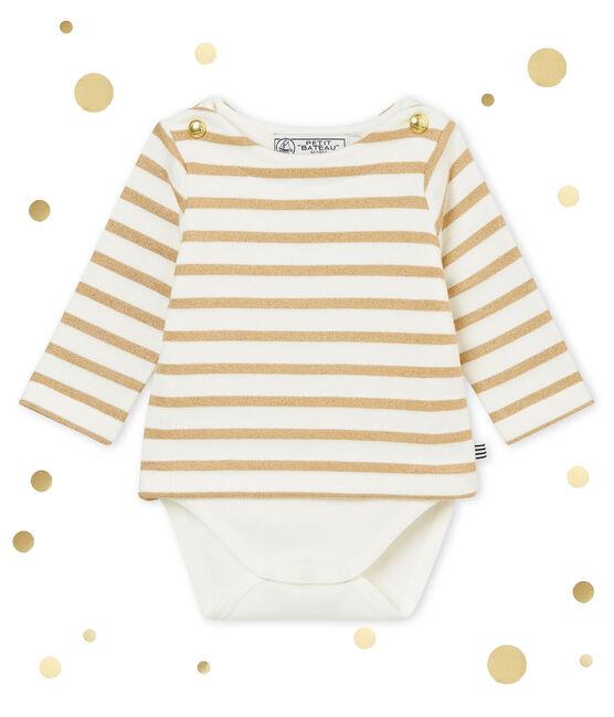 Body marinière brillant bébé fille blanc Marshmallow / marron Brindille Brillant