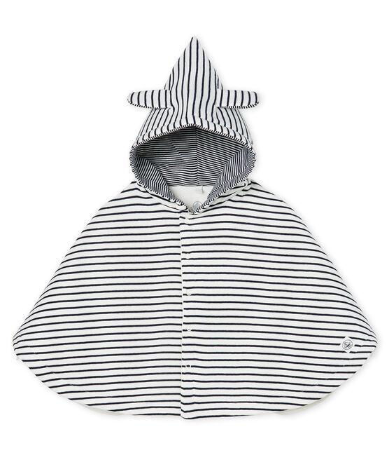 Cape iconique bébé en côte ouatinée blanc Marshmallow / bleu Smoking