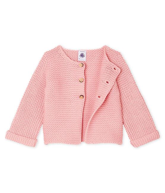 Cardigan laine et coton point mousse bébé fille CHARME