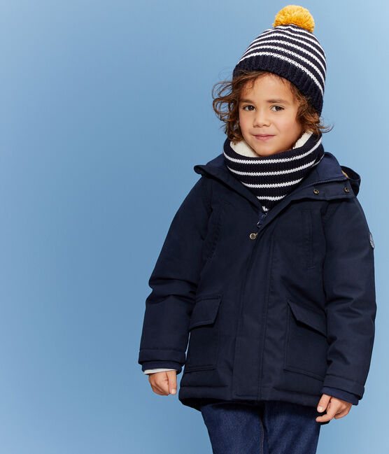 Bonnet enfant garçon bleu Smoking / blanc Marshmallow