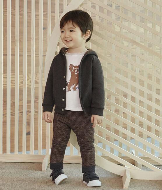 Pantalon bébé garçon en tubique pied-de-poule noir City / marron Cocoa