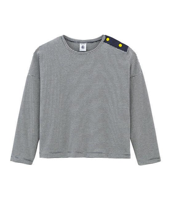 Tee-shirt à manches longues enfant fille bleu Smoking / blanc Marshmallow