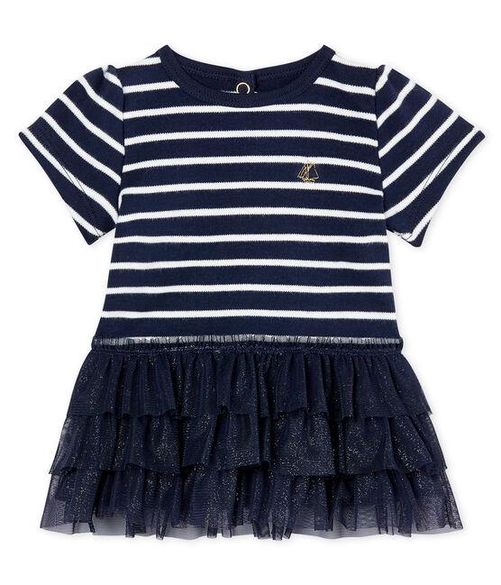 Robe rayure marinière et tulle bébé fille bleu Smoking / beige Coquille