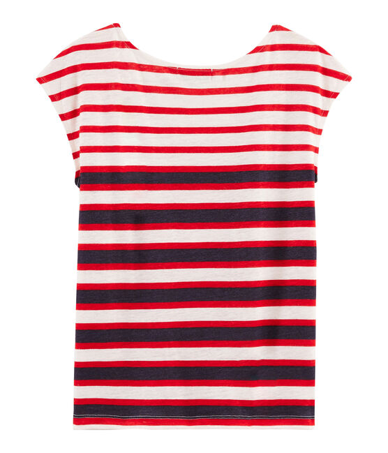 Tee shirt lin femme blanc Marshmallow / rouge Peps