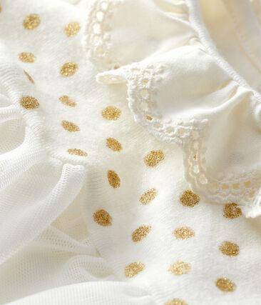 Robe body en coton lin bébé fille blanc Marshmallow / jaune Or