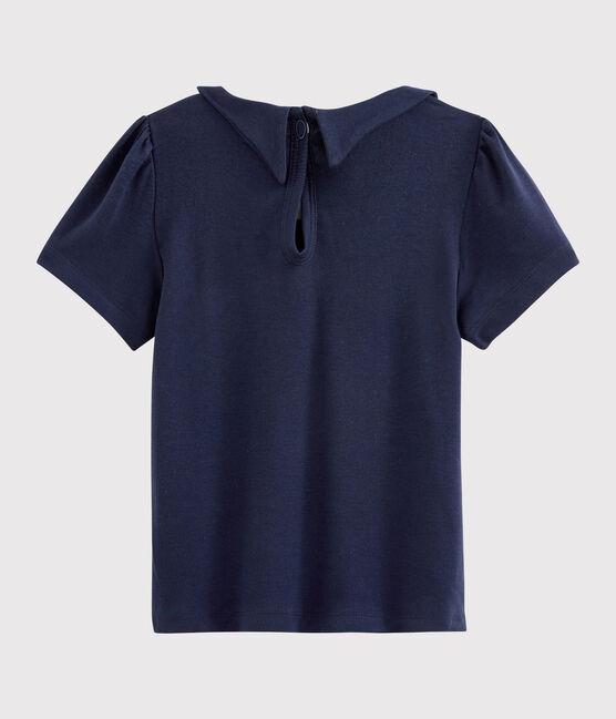 Tee-shirt manches courtes en coton enfant fille bleu Smoking
