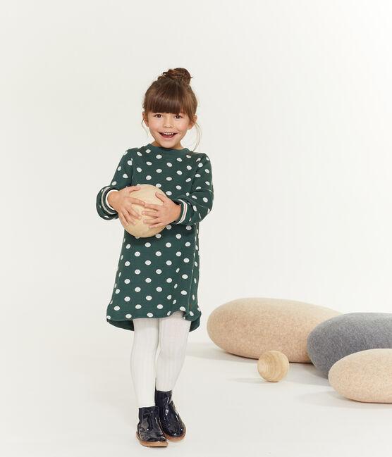 Robe imprimée enfant fille vert Sousbois / blanc Marshmallow