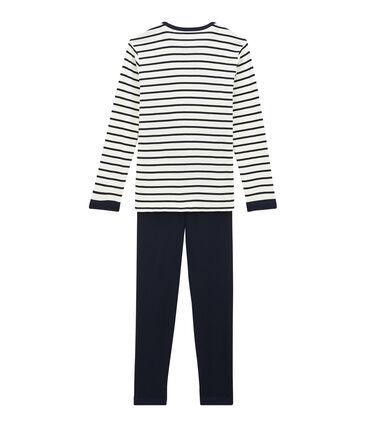 Pyjama garçon en velours bleu Smoking / beige Coquille