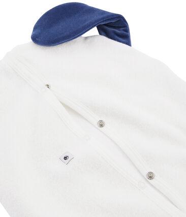 Range pyjama en bouclette éponge grattée blanc Marshmallow / bleu Medieval