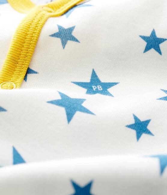 Dors bien sans pieds bébé garçon en côte blanc Marshmallow / bleu Alaska