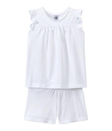 Pyjacourt petite fille en coton fin blanc Ecume