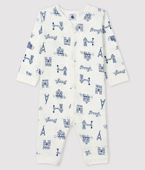 Dors-bien sans pieds Paris bébé en côte blanc Marshmallow / bleu Major