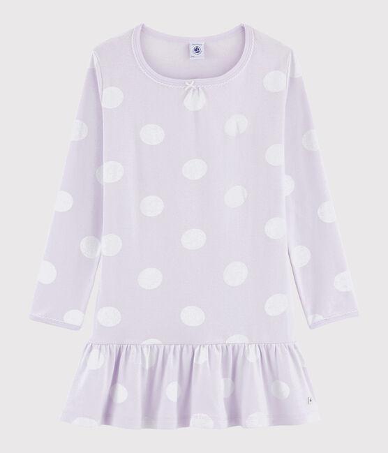 Chemise de nuit à pois petite fille en côte violet Liseron / blanc Ecume