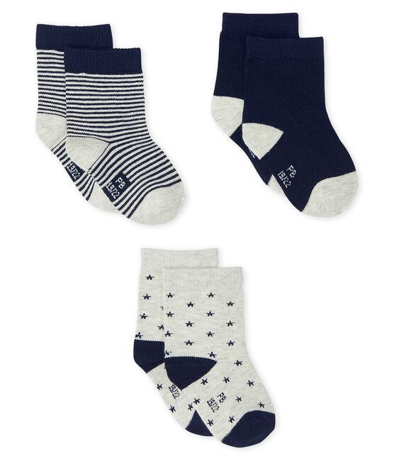 Lot de 3 paires de chaussettes bébé garçon gris Beluga / bleu Smoking