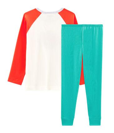 Pyjama petit garçon en côte vert Esperanza / blanc Multico