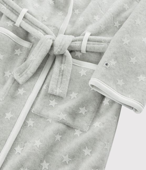Robe de chambre enfant à étoiles en polaire gris Beluga / blanc Ecume