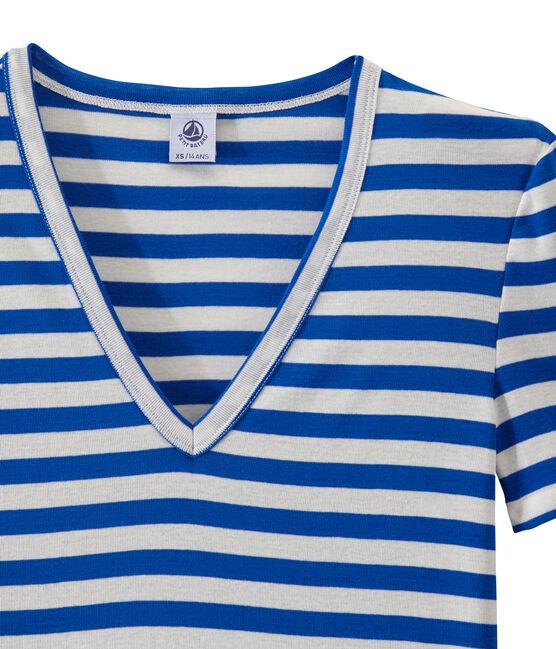 T-shirt femme col V en côte originale rayée bleu Perse / blanc Marshmallow