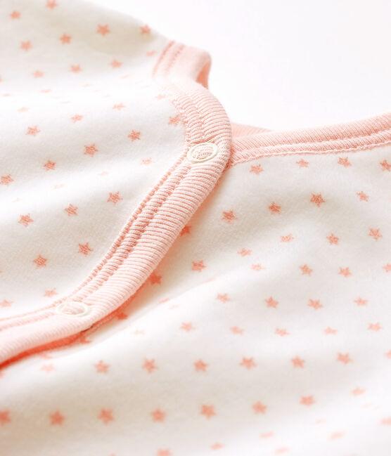 Dors bien bébé fille en velours blanc Marshmallow / rose Minois