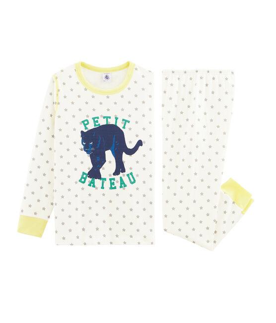 Pyjama petit garçon en tubique blanc Marshmallow / gris Gris
