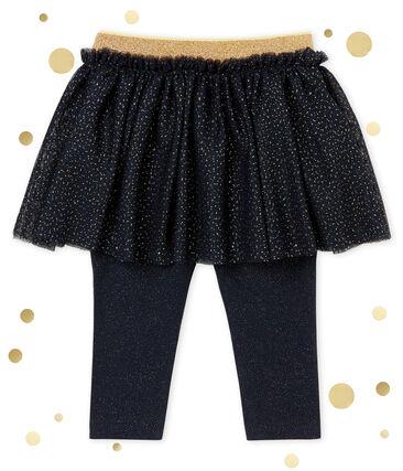 Jupe legging bébé fille bleu Smoking / jaune Dore