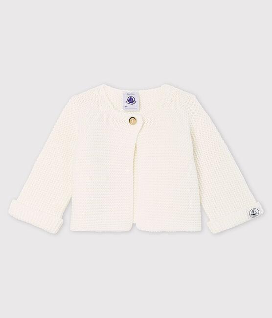 Cardigan bébé en tricot de coton biologique blanc Marshmallow