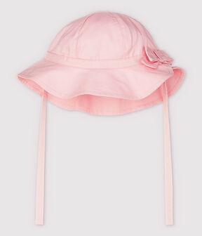 Capeline à nœud en twill uni bébé fille rose Fleur