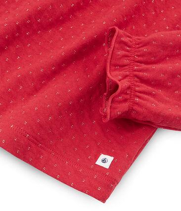Pyjama petite fille en tubique et côte rouge Terkuit / jaune Or