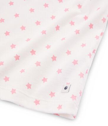 Pyjacourt à étoiles rose petite fille en côte blanc Marshmallow / rose Gretel