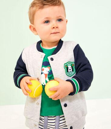 Cardigan bébé garçon en molleton gris Beluga / blanc Multico