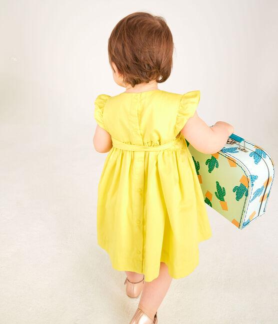 Robe manches courtes bébé fille en satin jaune Eblouis