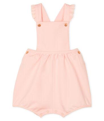 Salopette courte bébé fille en molleton rose Minois