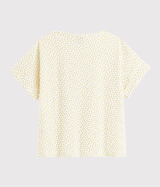 Tee-shirt imprimé enfant fille blanc Marshmallow / jaune Boudor