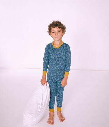 Combinaison longue petit garçon en côte bleu Shadow / blanc Marshmallow