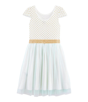Robe manches courtes enfant fille blanc Marshmallow / blanc Multico