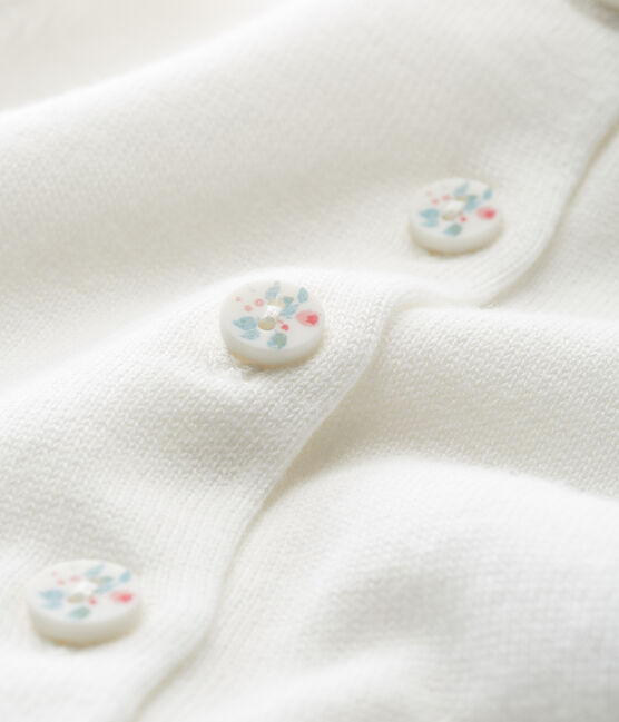 Cardigan bébé fille 100% coton blanc Marshmallow