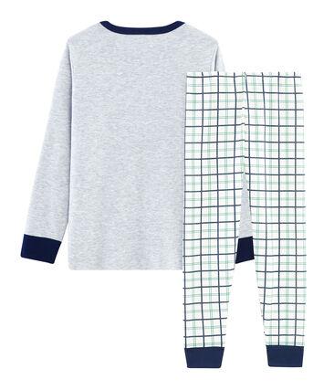 Pyjama petit garçon en côte et tubique blanc Marshmallow / blanc Multico