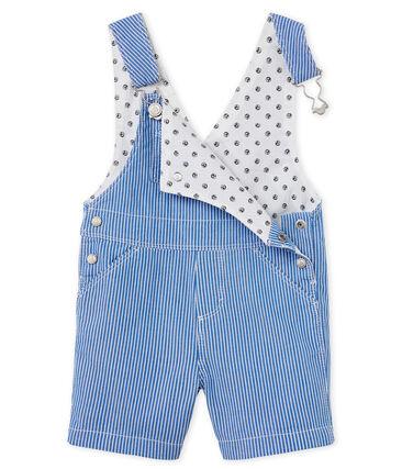 Salopette courte bébé garçon rayée bleu Surf / blanc Ecume