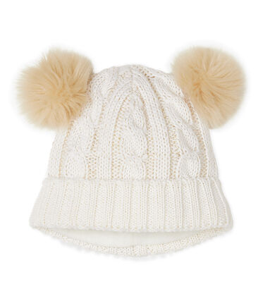 Bonnet enfant fille blanc Marshmallow / jaune Or