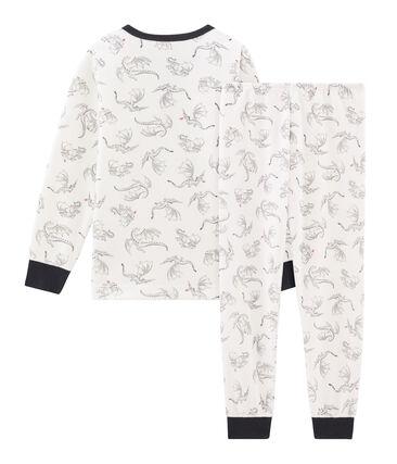 Pyjama petit garçon en velours blanc Marshmallow / blanc Multico