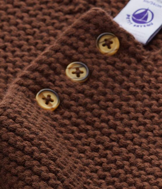 Cardigan bébé mixte laine et coton marron Brown