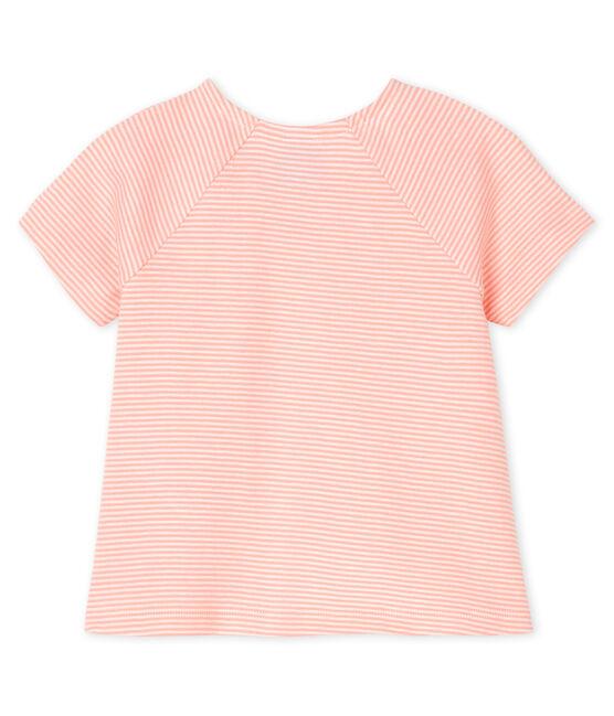 Tee shirt manches courtes bébé fille rose Patience / blanc Marshmallow