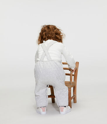 Salopette longue bébé fille en tubique matelassé