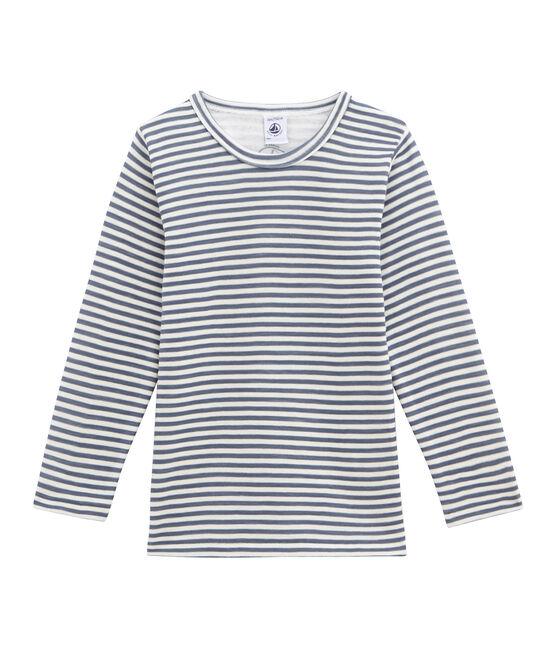 tee-shirt manches longues petit garçon bleu Turquin / blanc Marshmallow