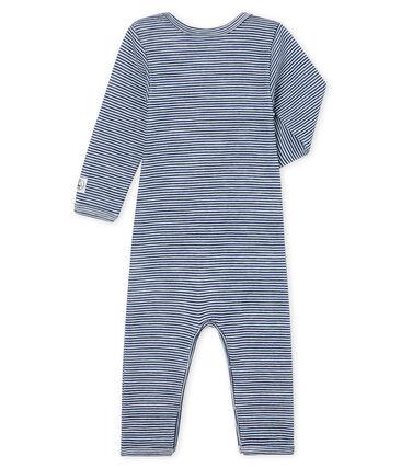Body jambes longues bébé en laine et coton bleu Medieval / blanc Marshmallow Cn
