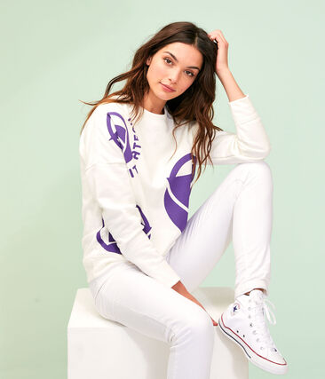 Sweat shirt logo femme blanc Marshmallow / violet Real