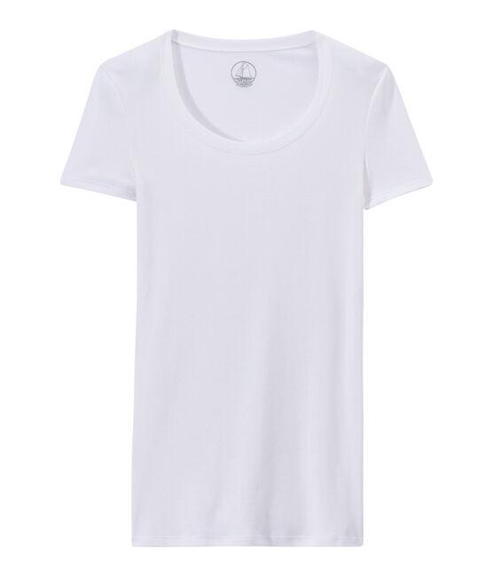 T-shirt femme en coton léger blanc Lait