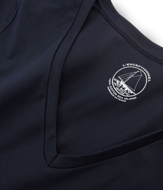 Tee shirt manches longues coton sea island femme bleu Marine