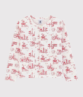 Cardigan en molleton enfant fille blanc Marshmallow / rouge Terkuit