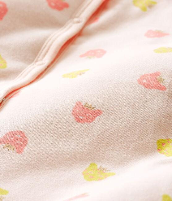 Dors Bien sans pieds bébé fille en côte ouatinée rose Fleur / blanc Multico
