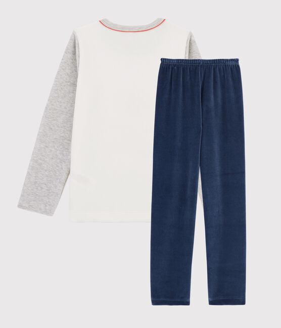 Pyjama en velours petit garçon gris Beluga / blanc Multico